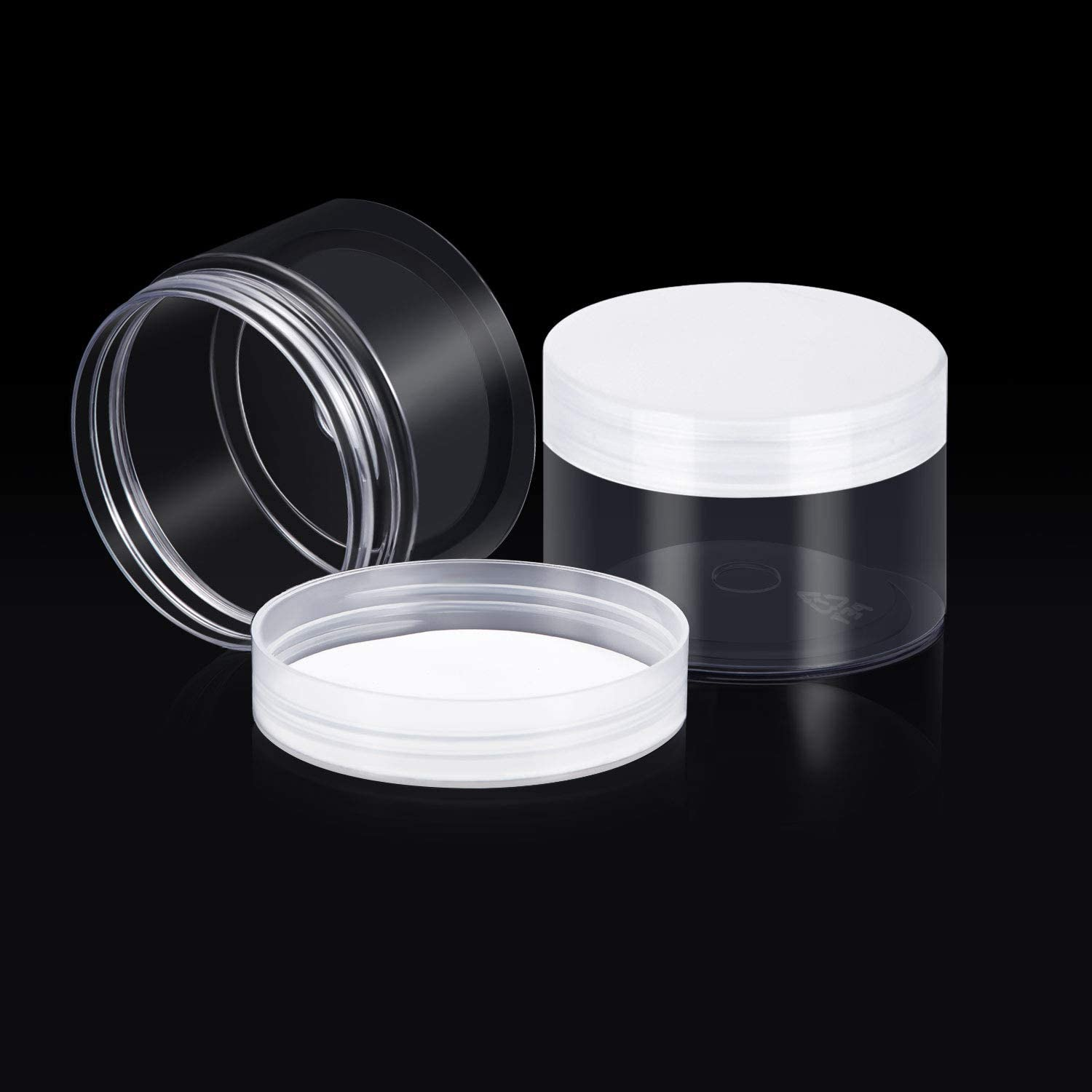 2 Ounce, Black Empty 12 Pack Clear Plastic Slime Storage Favor Jars Wide-Mouth Plastic Containers with Lids for Beauty Products DIY Slime Making or Others