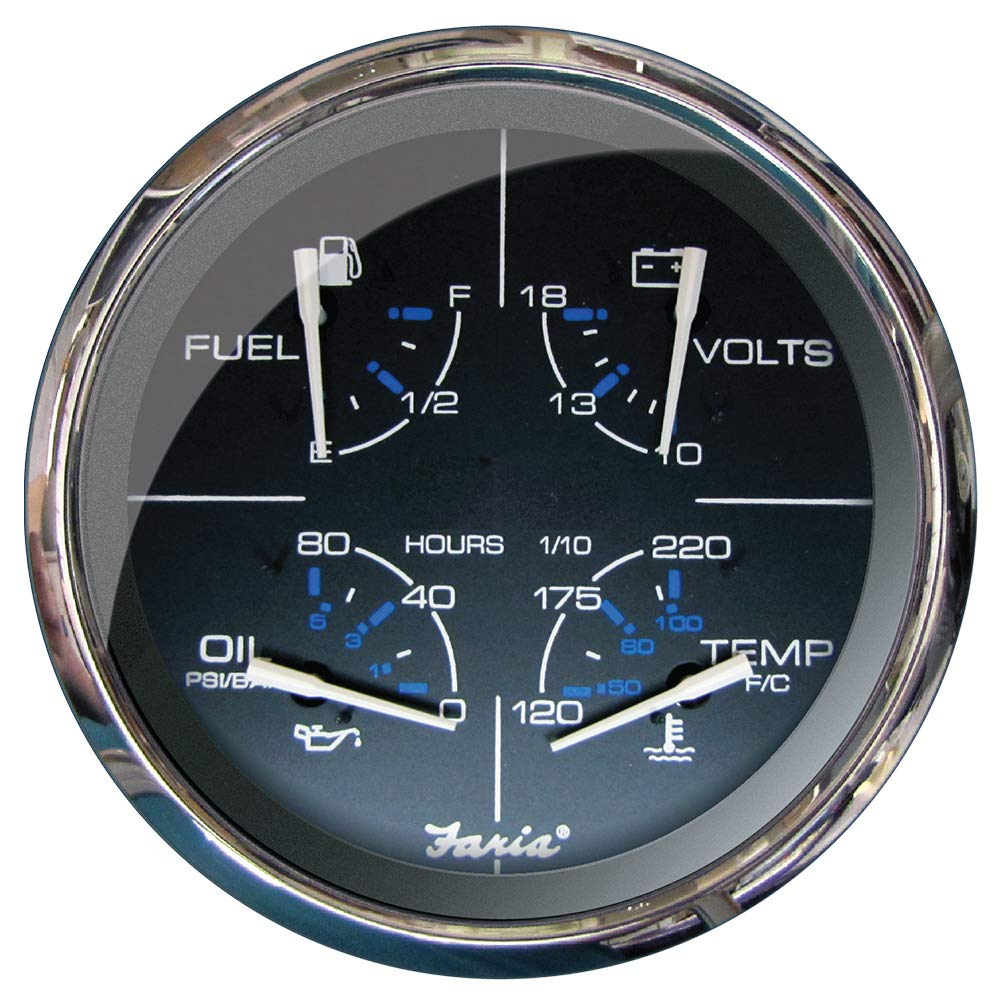 Faria 5'' Multifunction Gauge Chesapeake Black w/Stainless Steel - Fue. [33762] by Faria Beede Instruments