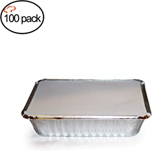 """Tiger Chef Oblong Aluminum Tin Foil 2.25 Pound Pans Dimensions: 8.44"""" X 5.89"""" X 1.8"""" With Board Lids Disposable Freezer to Oven Safe for Takeout, Baking, Cooking, Storing and Freezing - 100 Pack"""