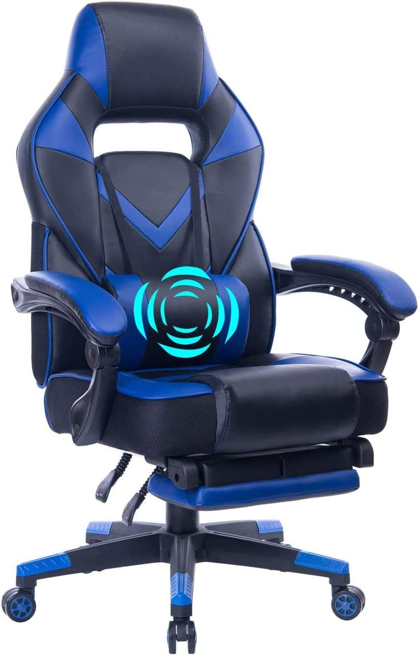 HEALGEN Reclining Gaming Chair with Adjustable Massage Lumbar Pillow and Footrest- Memory Foam PC Computer Racing Chair - Ergonomic High-Back Desk Office Chair