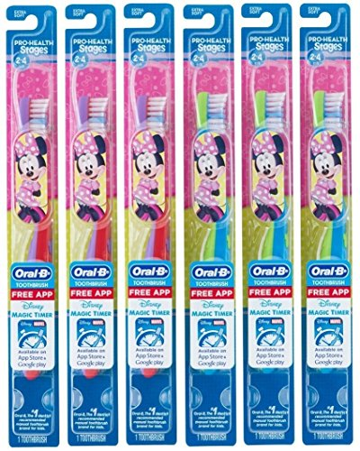 Oral-B Kids Toothbrush, Pro-Health Stages Mickey & Minnie Mouse for Little Children Ages 2-4 Years Old, Extra Soft (Pack of 6) (Best Toothbrush For 3 Year Old)