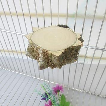 Autone Parrot Perch, madera natural redondo jaula de pájaros ...