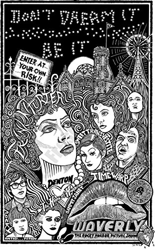 "Rocky Horror Picture Show with Frankurter, Brad, Janet, Magenta, Riff Raff, Rocky, and More- Inspired Letterpress Art Print Poster -Detailed Pen and Ink Original Hand Drawing 11""x17"""