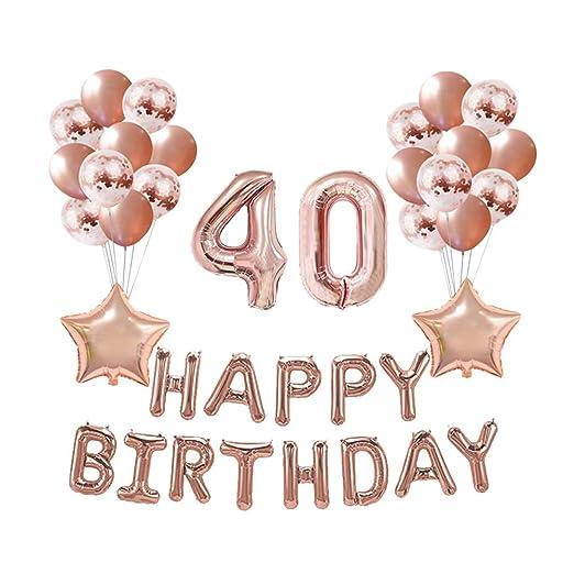 Amosfun 37 Piezas 40a Feliz cumpleaños decoración Globos ...