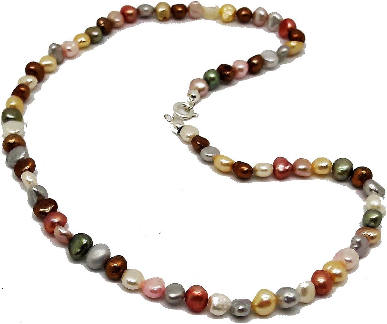 El Coral Collar Perlas Multicolor Pastel 42cm Longitud