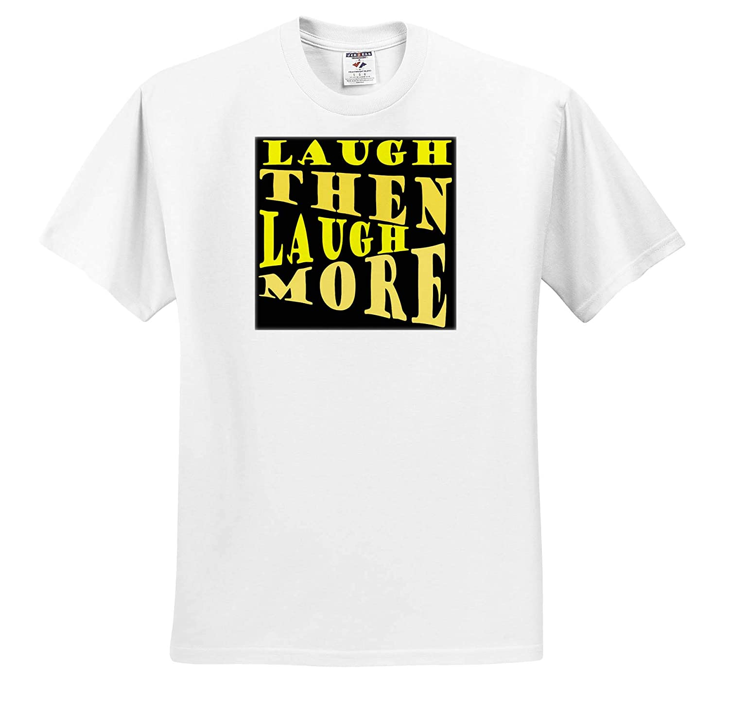 Laugh and Laugh More Happy Vibes Text Laughing Out Loud Text Design 3dRose Taiche ts/_308650 Adult T-Shirt XL