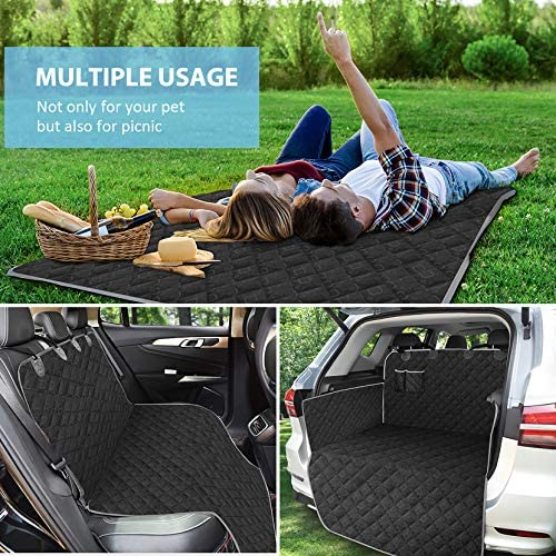 OKMEE Car Boot Liner Protector for Dogs, Car Cargo Liner for Dogs with 100% Waterproof & Nonslip Backing, Complete Car Boot Cover with Bumper Flap SUVs Full Protector, Cargo Liner for SUV Car Truck
