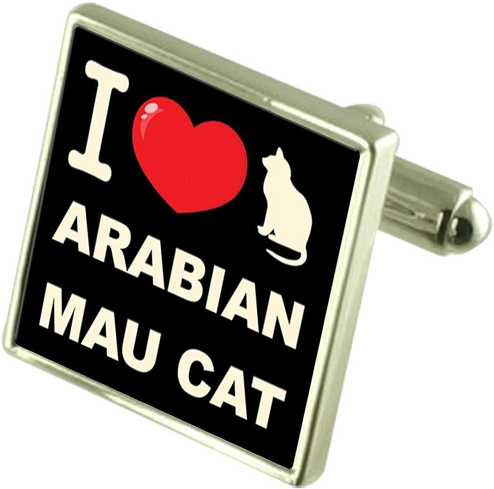 Select Gifts I Love My Cat Cufflinks Arabian Mau Cat