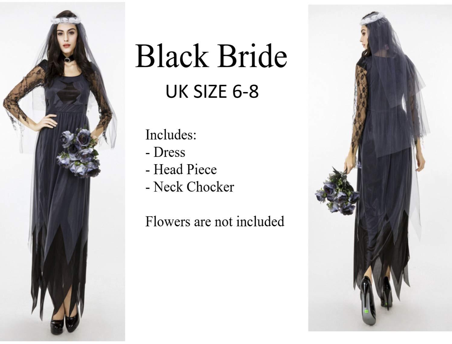 f3199624516 eBoutik Ladies zombie Deadly Bride Black Evil Medium Size 6-8 Fancy ...