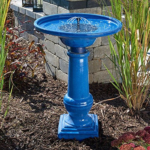 Athena Solar-On-Demand Ceramic Bird Bath Fountain by King Fountain