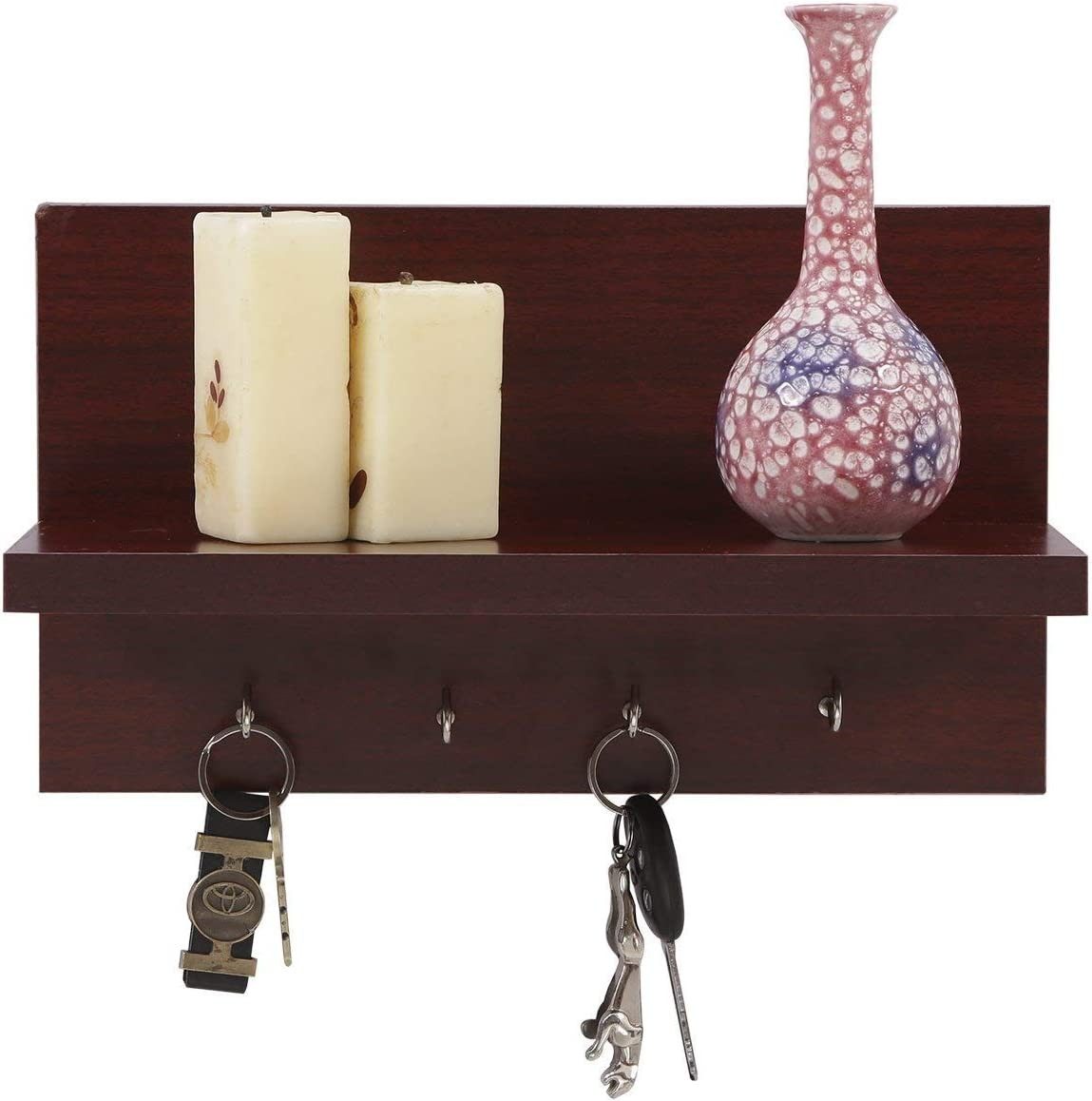 Amazon Com Willart Wall Hanging Key Holder For Home Decor Handcrafted Wooden Design Key Hooks Key Rack And Key Hangers With Floating Shelves Organizer Home Kitchen