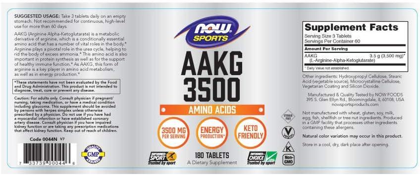 NOW Sports Nutrition, AAKG Arginine Alpha-Ketoglutarate 3500, 180 Tablets