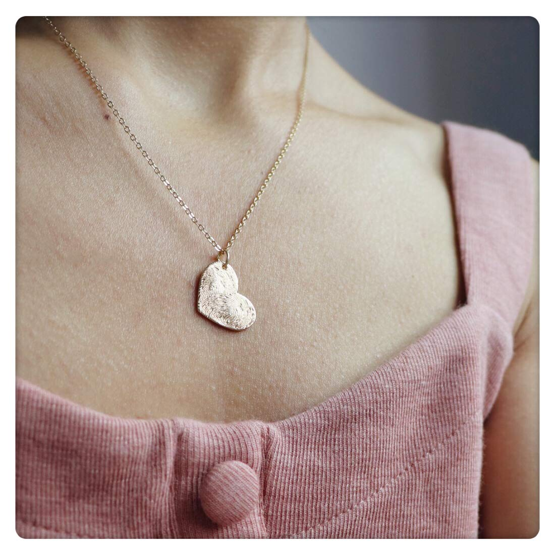f657fa498549 SEUSUK Fingerprint Necklace Gold Dainty 14K Gold Fill Round Wafer Teardrop  Waterdrop Love Heart Pendant Delicate Handmade Simple Gold Fingerprint  Jewelry ...
