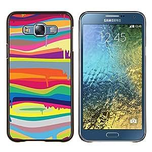 EJOOY---Cubierta de la caja de protección para la piel dura ** Samsung Galaxy E7 E700 ** --blob pintura que gotea patrón de líneas de colores