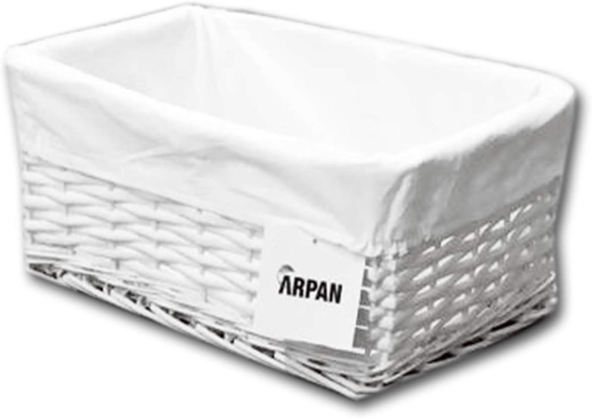 ARPAN Storage Hamper Basket White Paper Rope Woven Storage With Cloth Liner /& insert handles Storage Basket- W36xD25xH15cm approx,