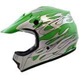 TMS Youth Kids Green Flame Motocross ATV Mx Off-road Dirt Bike Helmet DOT (Small)