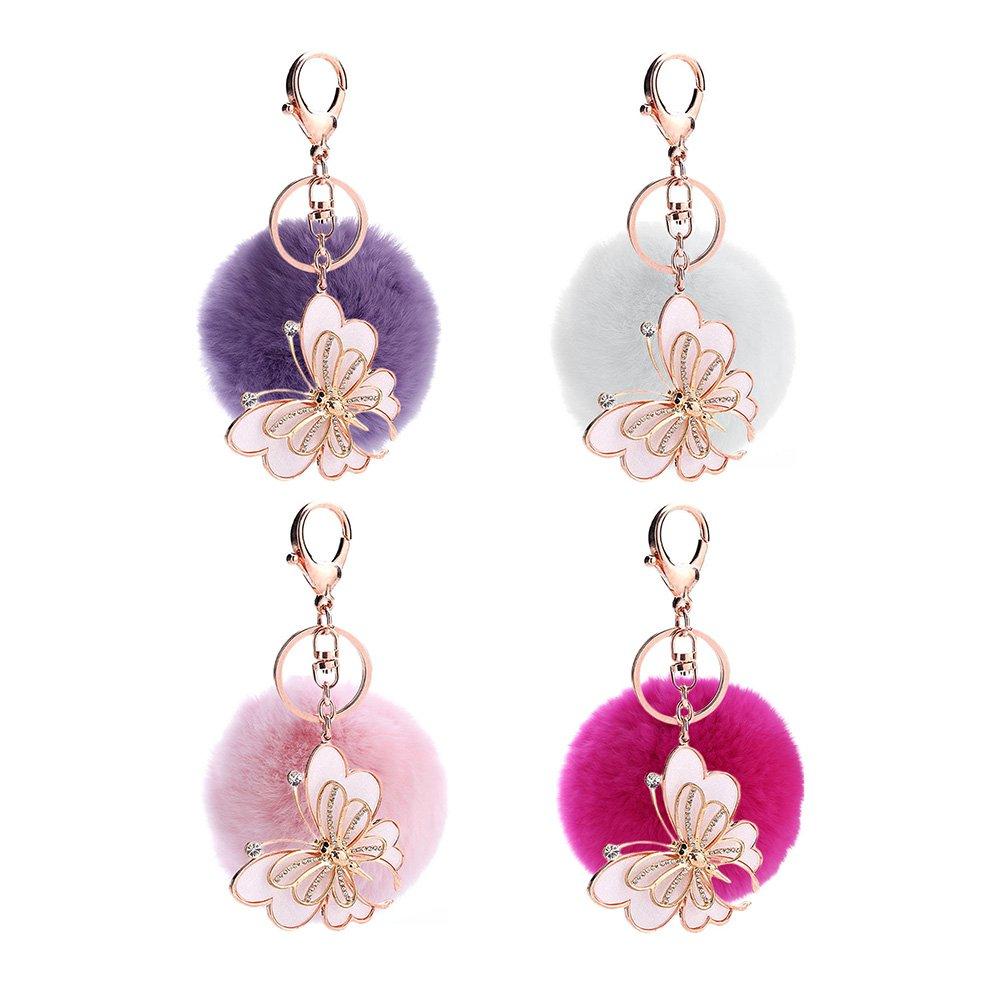 ACTLATI Elegant Butterfly Keyfob Faux Crystal Keyring Pompom Fluffy Ball Handbag Keychain Decor by ACTLATI (Image #3)
