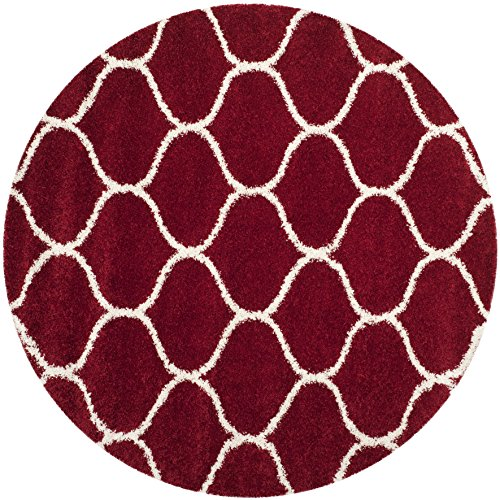 - Safavieh Hudson Shag Collection SGH280R Red and Ivory Moroccan Ogee Plush Round Area Rug (7' Round)