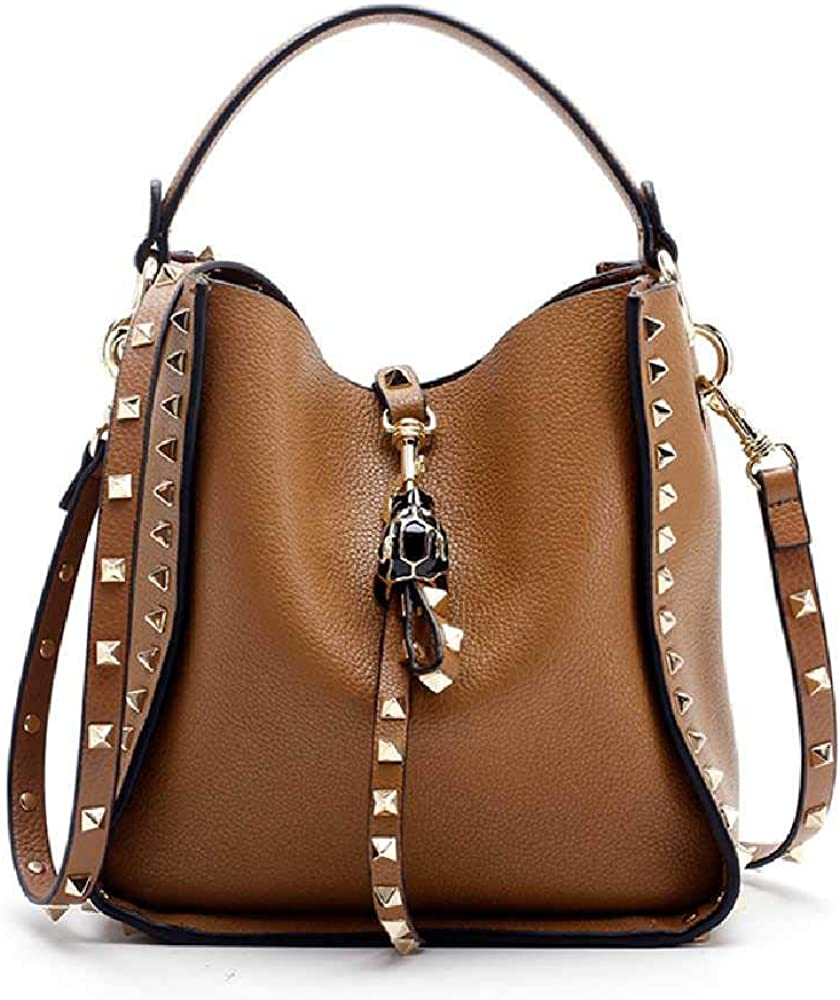 YXOPB Leather Studded Tote Soft Shoulder Bag Bucket Bag Small Green Spot