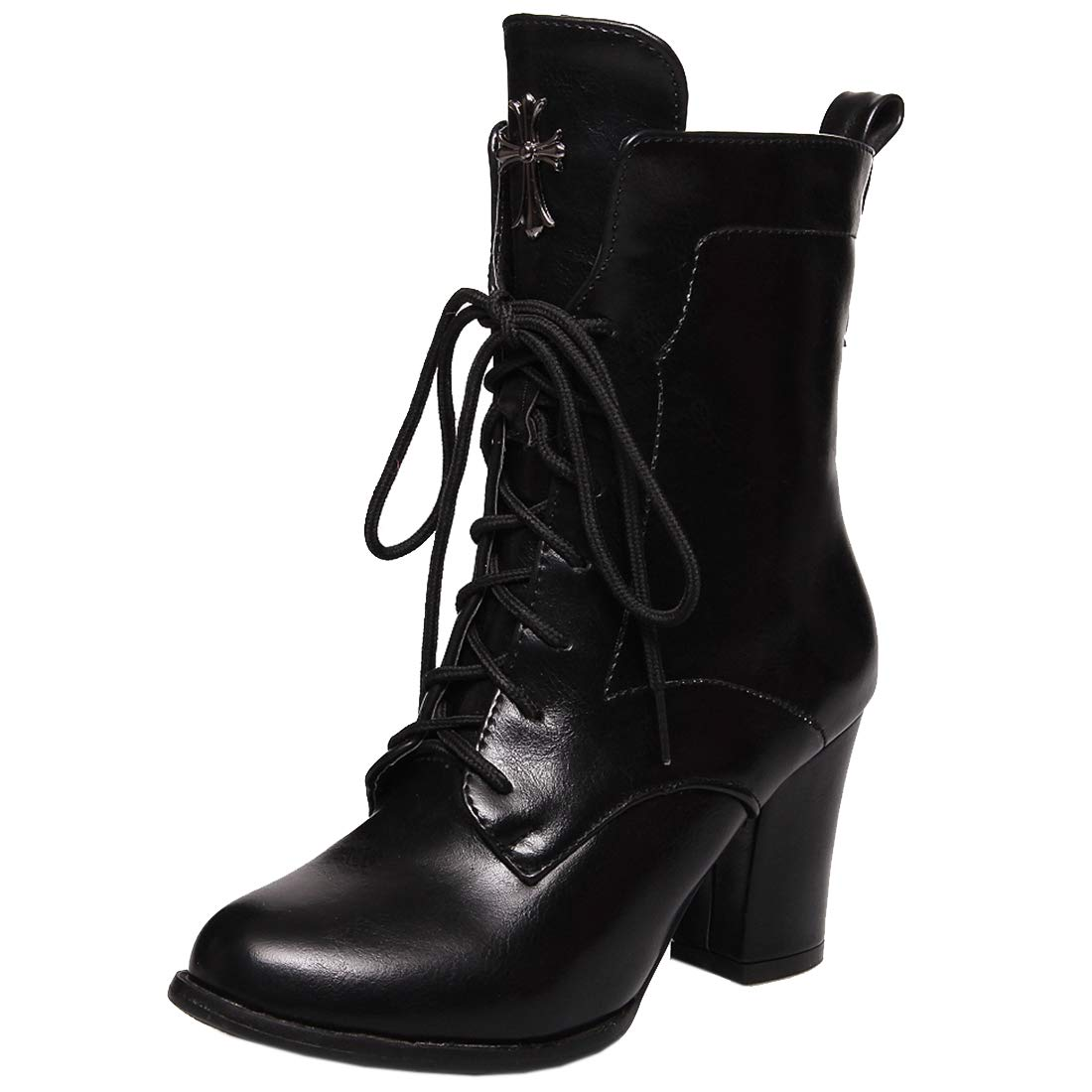 1b89306ab4 Vitalo Womens Lace Up Chunky High Heel Ankle Boots Zip Up Autumn Winter  Shoes: Amazon.co.uk: Shoes & Bags