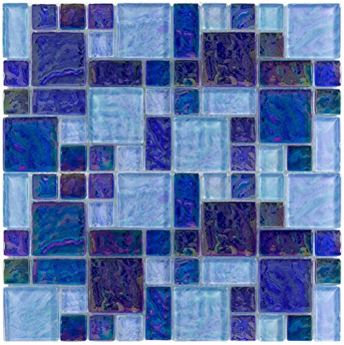 MTO0110 | Modern French Pattern Blue Iridescent Glass Mosaic Tile