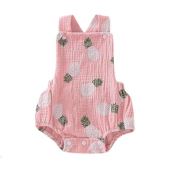 Baiomawzh Mono para bebé niños recién Nacidos Verano Monos Sin Mangas Mamelucos con Estampado Piña Pijamas Bebes niño niñas Ropa de Dormir Bodies ...
