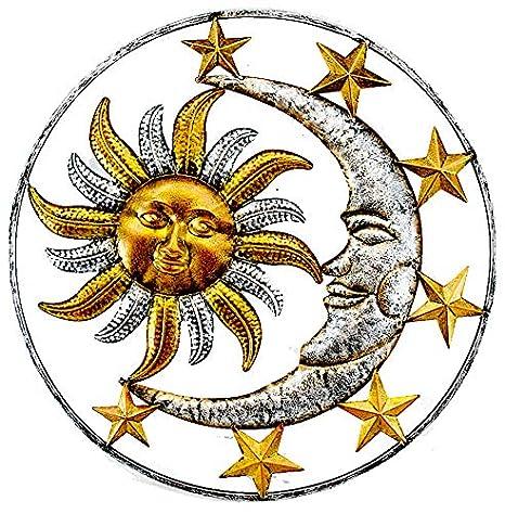 Large Metal Sun Moon Star Wall Art Sculpture Decor For Indoor Outdoor 17 Diameter