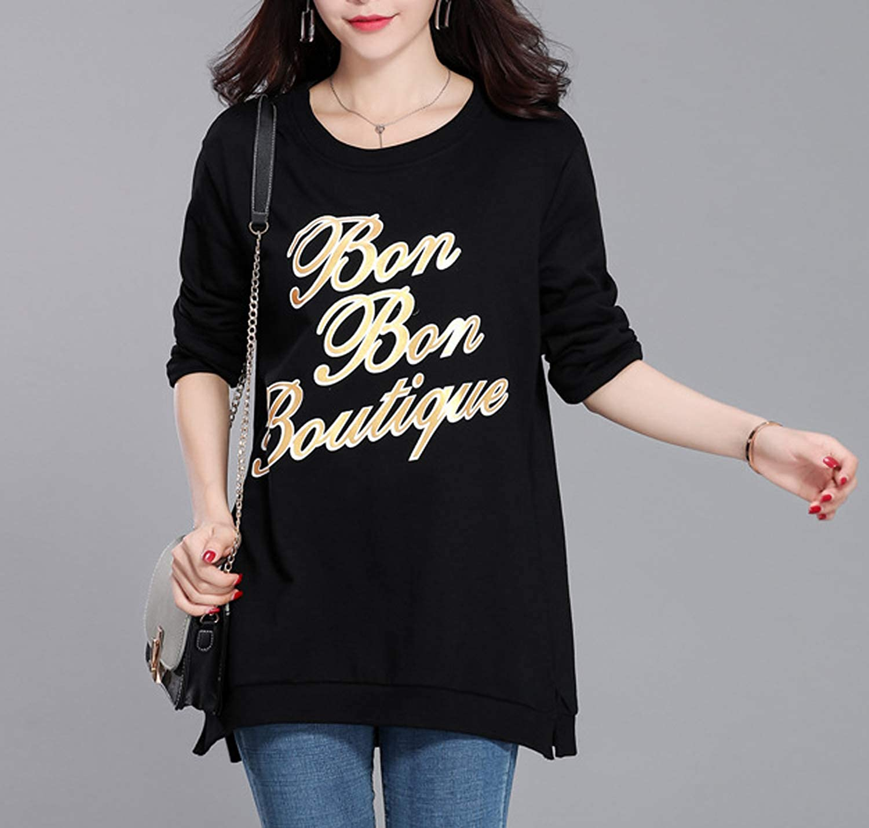 b2d3082beb2 Ropa Mujer Primavera y Otoño Mujeres Longitud Mediana Tops Casual Cuello  Redondo Camisetas de Manga Larga ...
