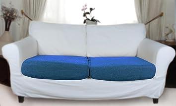 Houselinen   Housse élastique pour 2 coussins d'assise   bleu