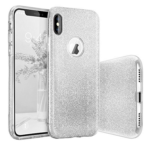 iPhone X Case, BASSTOP Luxury Bling Crystal Glitter Sparkle Phone Case Detachable 3 Layers Shockproof Hard PC Back Soft TPU Inner Shining Case for Apple iPhone X,iPhone 10 (Silver)