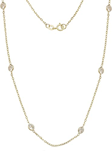 Cubic Zirconia Station Necklace or Bracelet 14K Solid Gold or Sterling Silver 7 Inch or 18 Inch Length Cable Rolo Chain With Gift Box