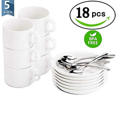 Demitasse Cupsmugs Espresso White Mugsgift Spoons 18 Cups Set Pcs And 5 Saucers Of Package With Ounce XZiOPkTu
