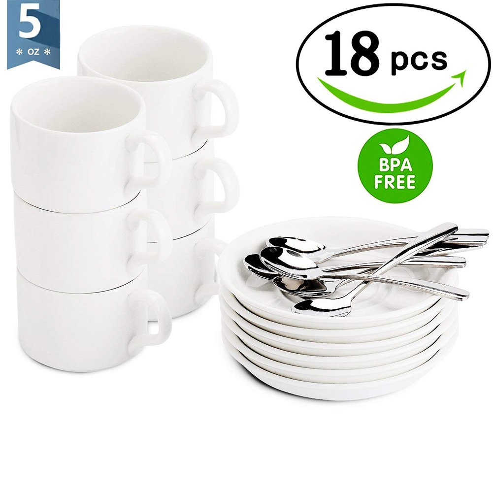 Espresso Cups with Spoons and Saucers - Demitasse Cups/Mugs - Set of 18 pcs - 5 Ounce White Mugs (Gift Package)