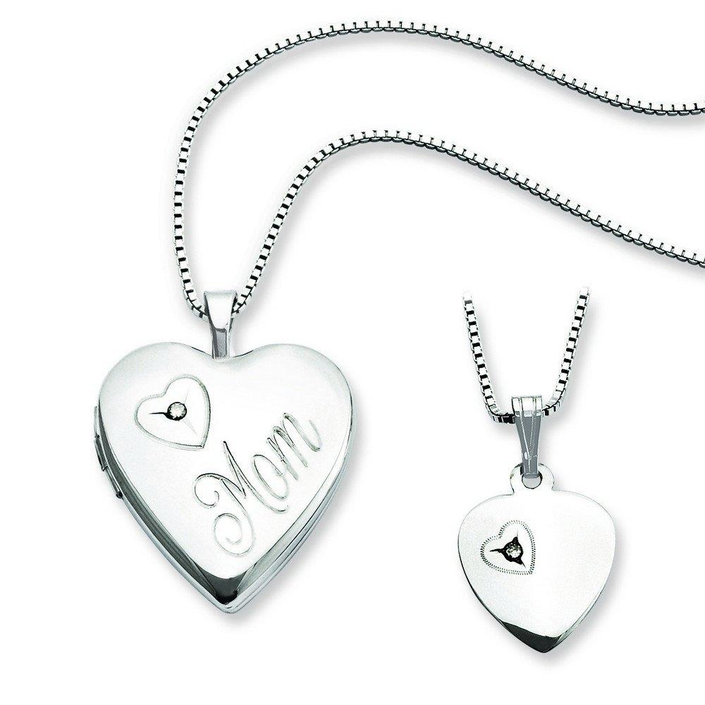 Sterling Silver Diamond Polished Heart Locket and Pendant Set