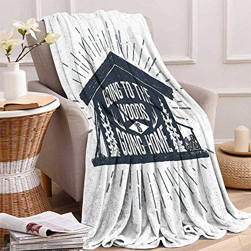 - maisi Cabin Decor Digital Printing Blanket Retro Style Hand Drawn Label with Wooden Cabin Chalet Quote Hipster Lodge Summer Quilt Comforter 62