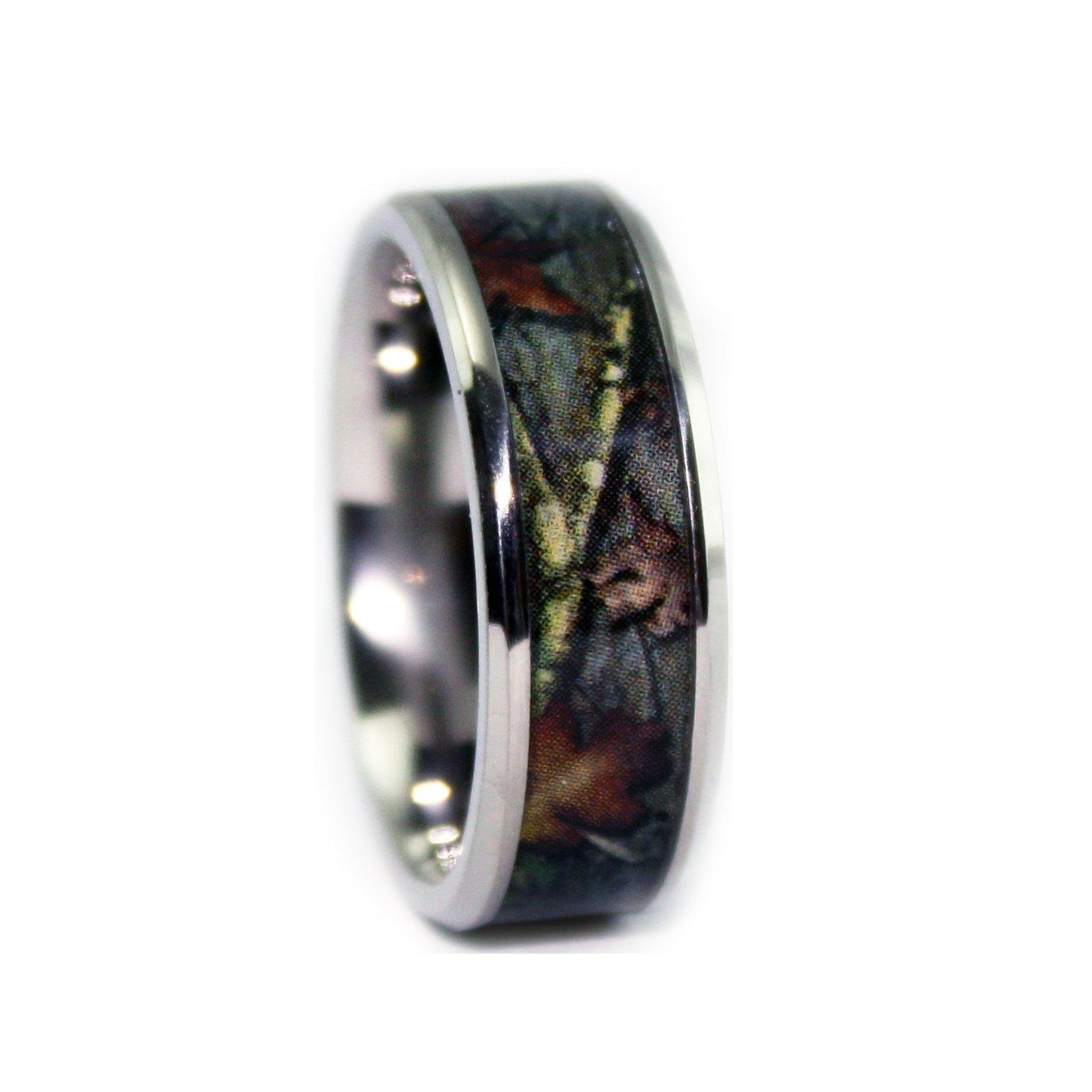 #1 Camo Bevel Titanium Rings - Camouflage Wedding Engagement Band - Ring Size 12.5