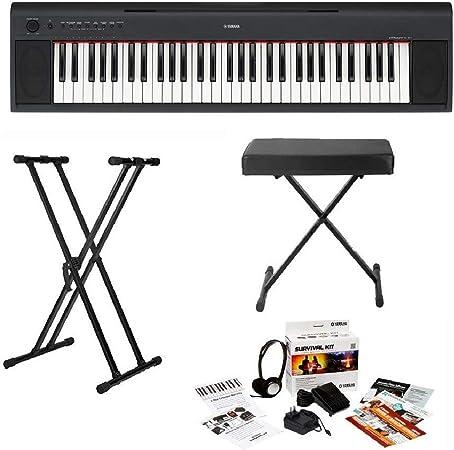 Yamaha NP32 teclado portátil ligero de 76 teclas con soporte para teclado Knox, banco de teclado y kit de supervivencia (incluye fuente de ...
