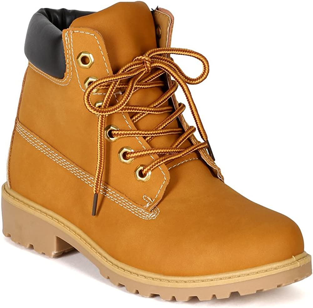 Nature Breeze Womens Terrain Leatherette Multi Color Padded Collar Hard Toe Boot - Wheat