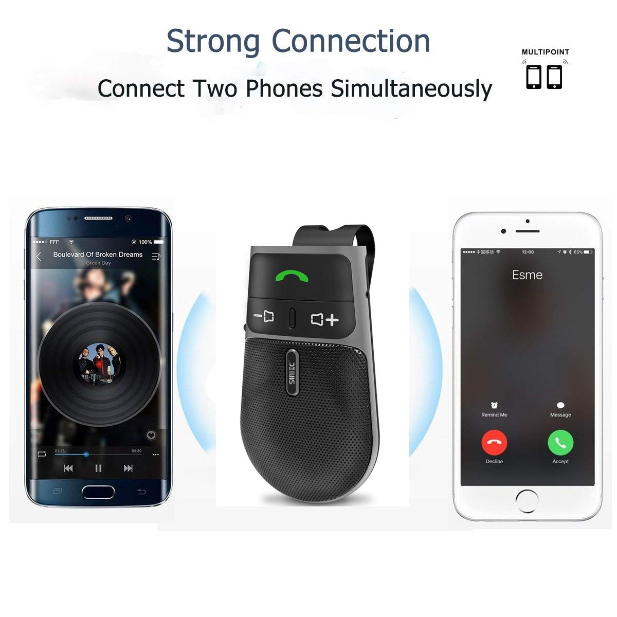 2019 SUNITEC BC920 Bluetooth Hands Free Car Kit, Connects with Siri & Google Assistant, Auto On Off, Handsfree Speakerphone Wireless in Car, 2W Powerful Speaker, Dual Link Connectivity & Visor Clip by Sunitec (Image #7)