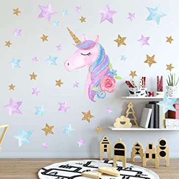 SONGS IDEA Large Size Unicorn Wall Decal,2Packs,Unicorn Wall Sticker Decor with Hearts and Stars for Girls Rooms Baby Nursery