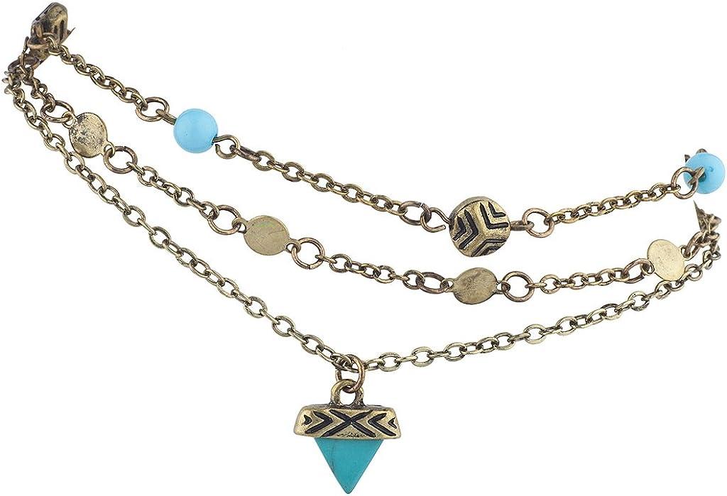 Lux Accessories Burnish Gold Tone Boho Aztec Imitation Turq Stone Anklet Set 3pc