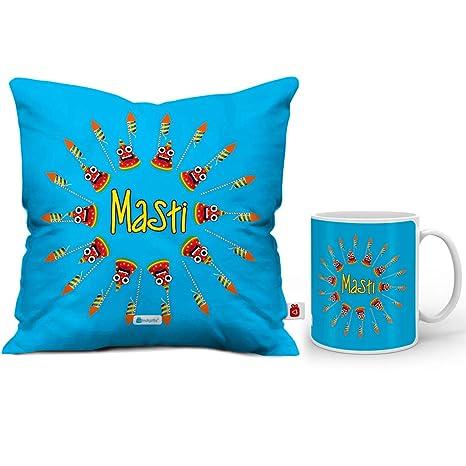 Indi ts Diwali Decoration Items Masti Quote Blue Cushion