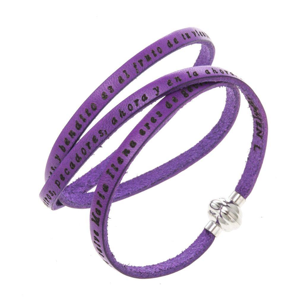 Amen Bracelet in purple leather Hail Mary SPA, 60 cm (23.64 inc.)