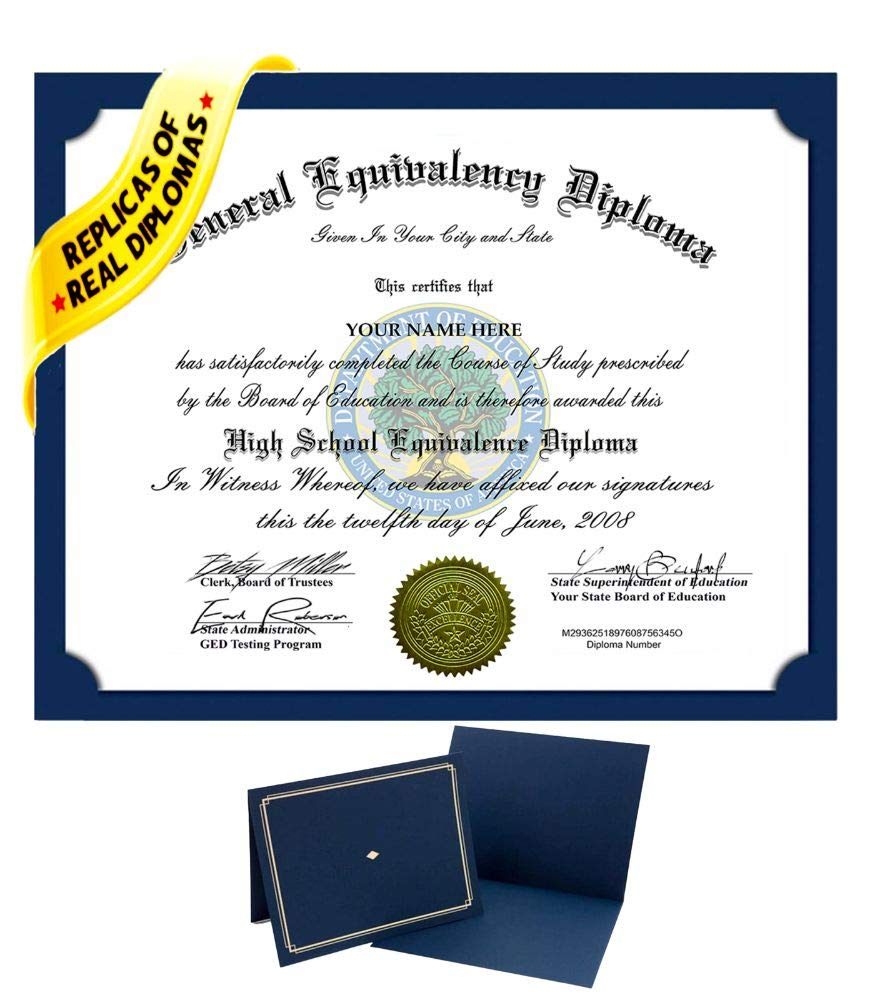 Fake GED High School Diploma Novelty Diplomas Looks Authentic with Real Layout by Regina Braga