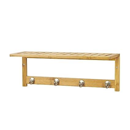 SoBuy® Estantería de pared con perchero Bambú, Estanteria de baño de bambù, Estantes de pared, Armario suspendido, FRG72-N,ES