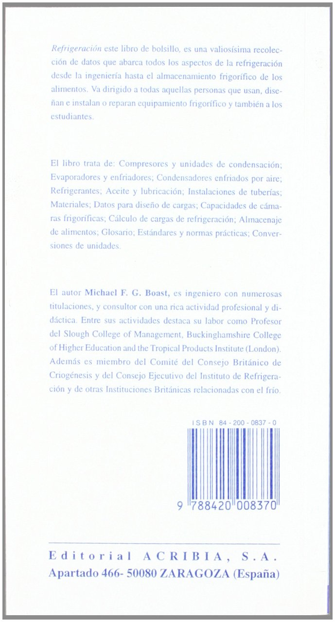 Refrigeracion - Libro de Bolsillo (Spanish Edition): Michael Boast: 9788420008370: Amazon.com: Books