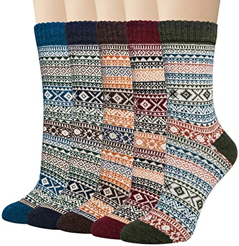 5 Pack Womens Thick Knit Warm Casual Wool Crew Winter Socks ()
