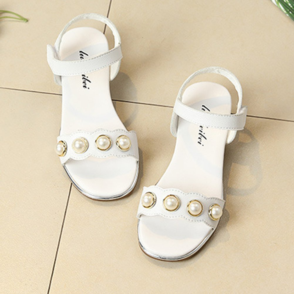 InStar Girls Stylish Beaded Round Toe Hook and Loop Ankle Strap Low Heels Sandals