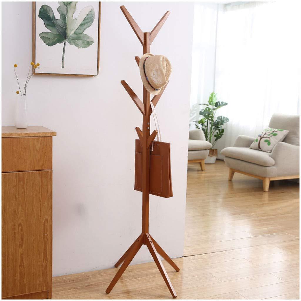 Light coffee 4545175cm Coat Rack Simple Coat Rack Creative Tree Solid Wood Floor Hanger Fashion Living Room Bedroom Hanger Multi-Function Save Space (color   Light Coffee, Size   45  45  175cm)