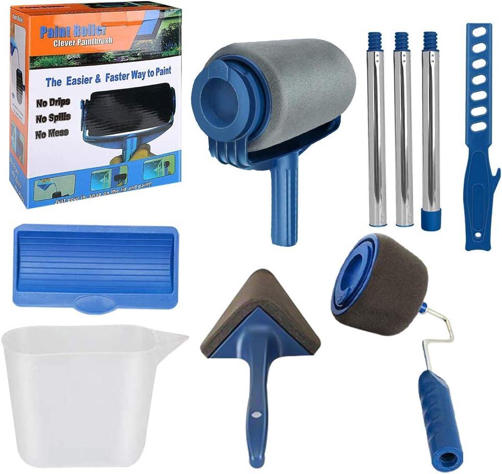 9Pcs/Set Paint Roller Kit, TANOKY Multifunctional Non Drip Paint Roller Set  with Sticks, Paint Roller Brush Handle Tool, Wall Printing Brush Kit for  Home Office School- Interior Paint (1 Set, Blue) - -